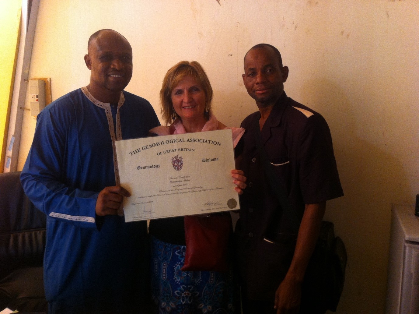Gem A trained Mohamadou Abou and Agadez Ministry of Mines officer, Mali Batoure, with Lynda Lawson in Niamey 2017.