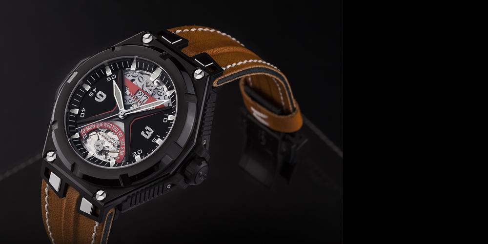 La montre R07 de la marque Revelation. Son cadran unique a fait l'objet d'un dépôt de brevet dont nous sommes les co-inventeurs.