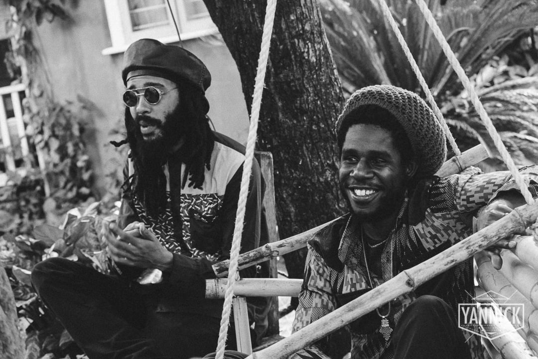 Protoje and Chronixx reminiscing on old memories during an on the spot interview