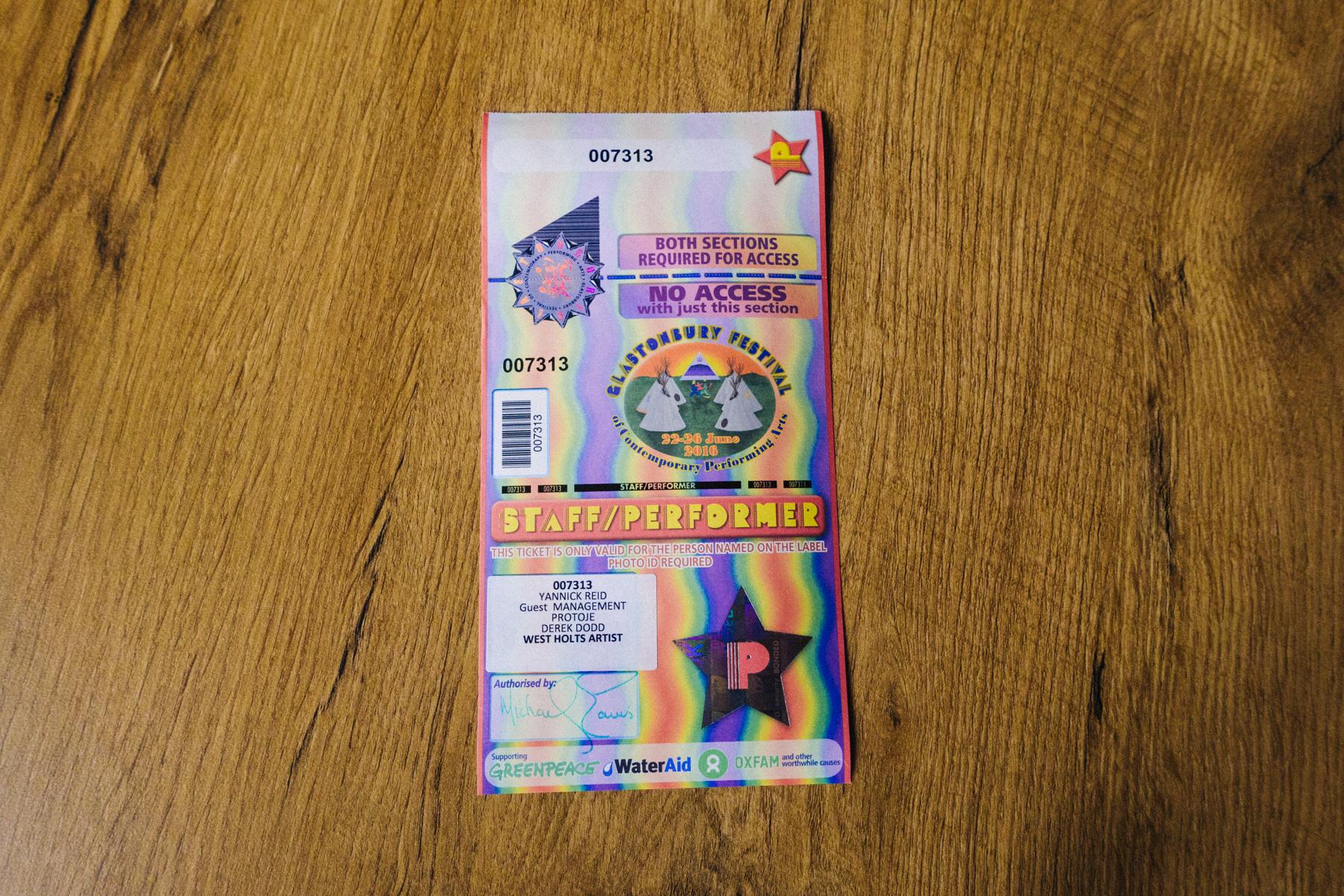 A Glastonbury artist ticket