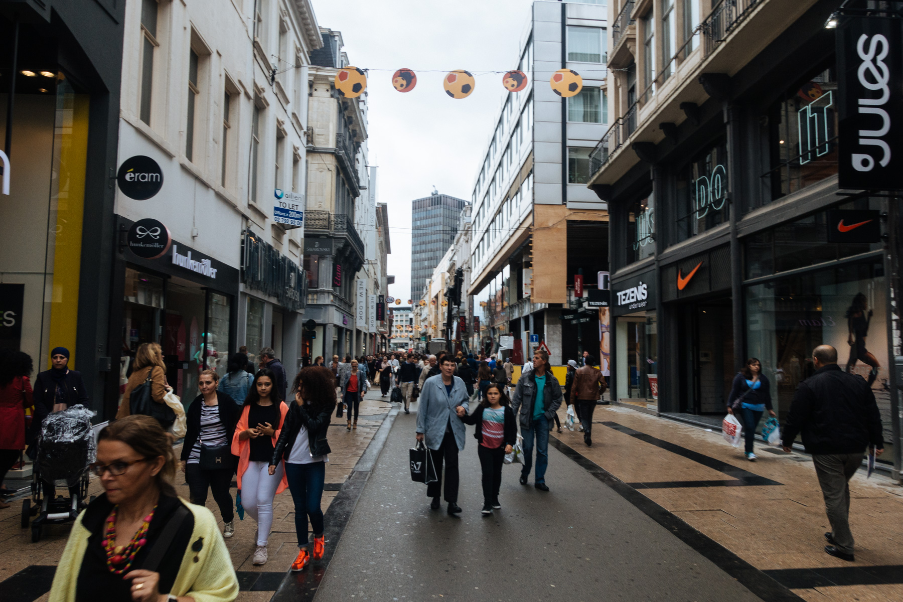 Shopping district in Brussels. ALWAYS crowded.