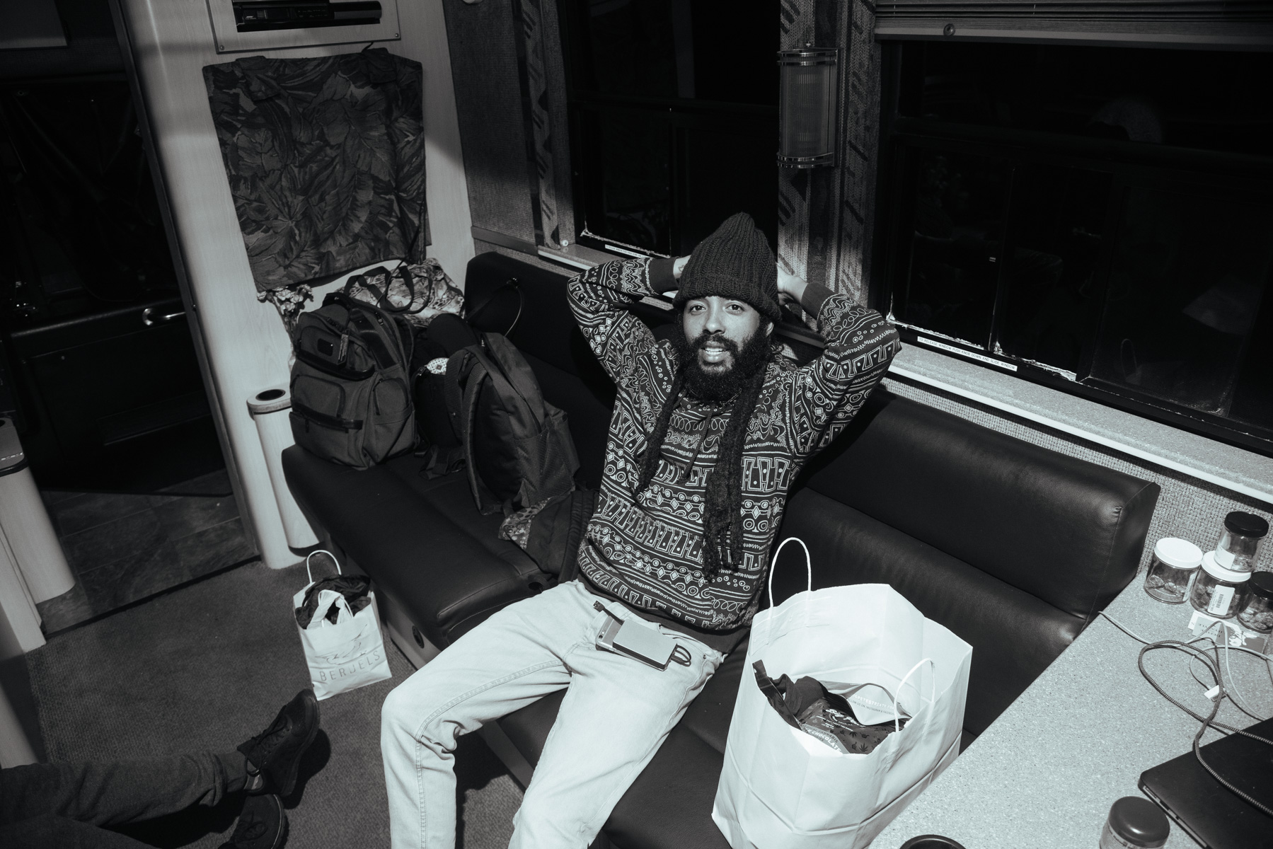 Chilling on the tour bus