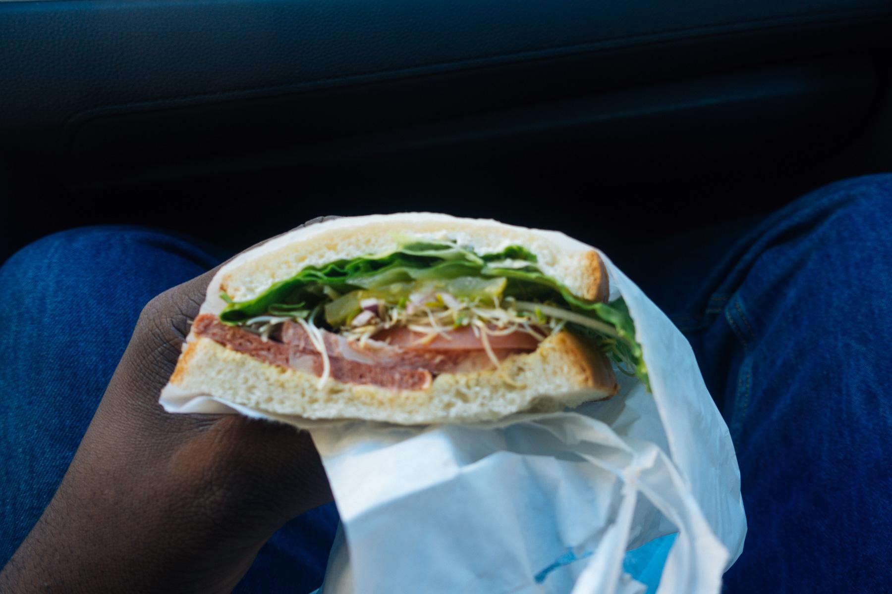 A blurry vegan bacon sandwich