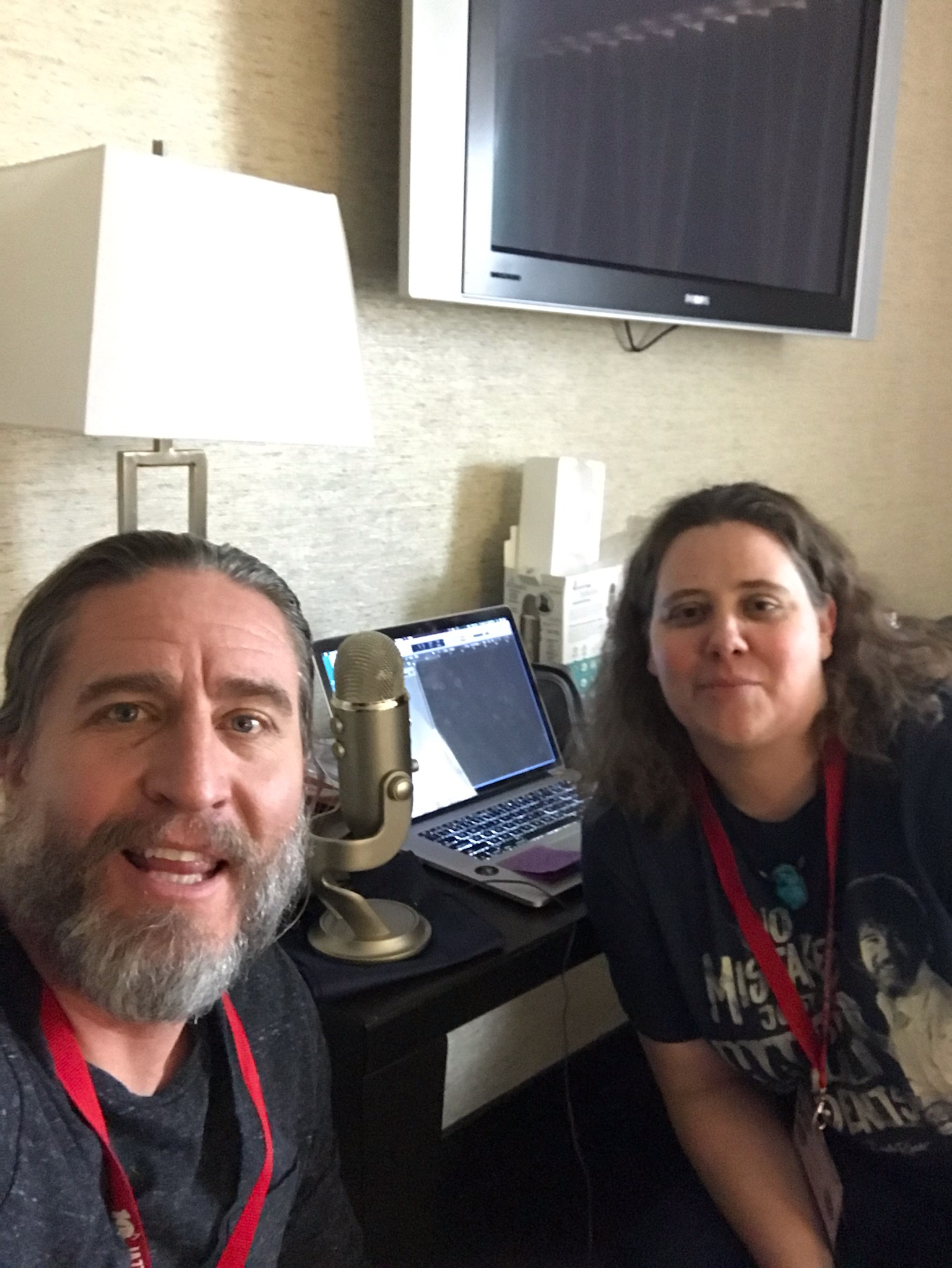 Corey Christiansen and Monica Shriver pose for a selfie after Corey's interview for the podcast at the Jazz Education Network Conference 2019 in Reno!