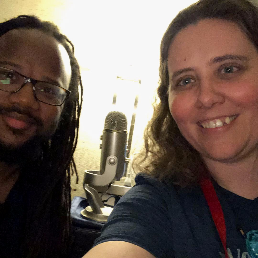 Rahsaan Barber and Monica Shriver pose for a selfie after recording Rahsaan's interview at the Jazz Education Network Conference 2019 in Reno.