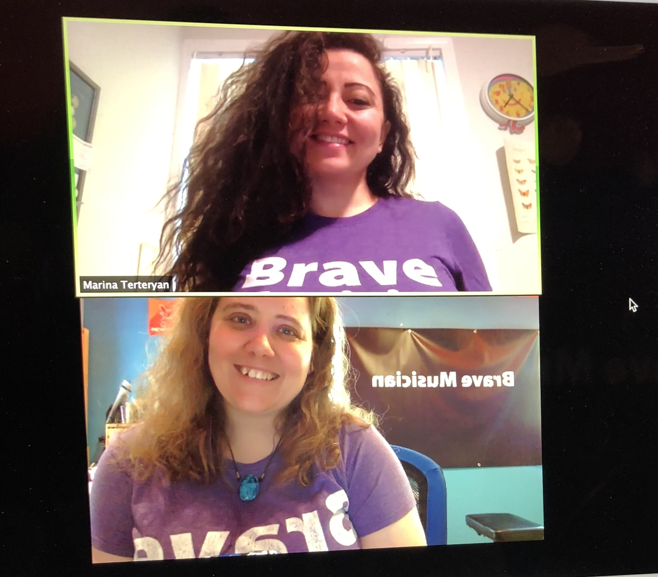 Brave Musician founders Monica Shriver and Marina Terteryan sporting their Brave Musician t-shirts and smiling for the camera as they record the podcast online. Technology is so cool!