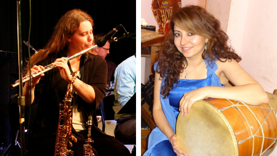 Monica started with clarinet, got a Bachelor's degree in flute, and fell in love with tenor saxophone. Marina plays ethnic percussion and sings, but fell in love with violin.