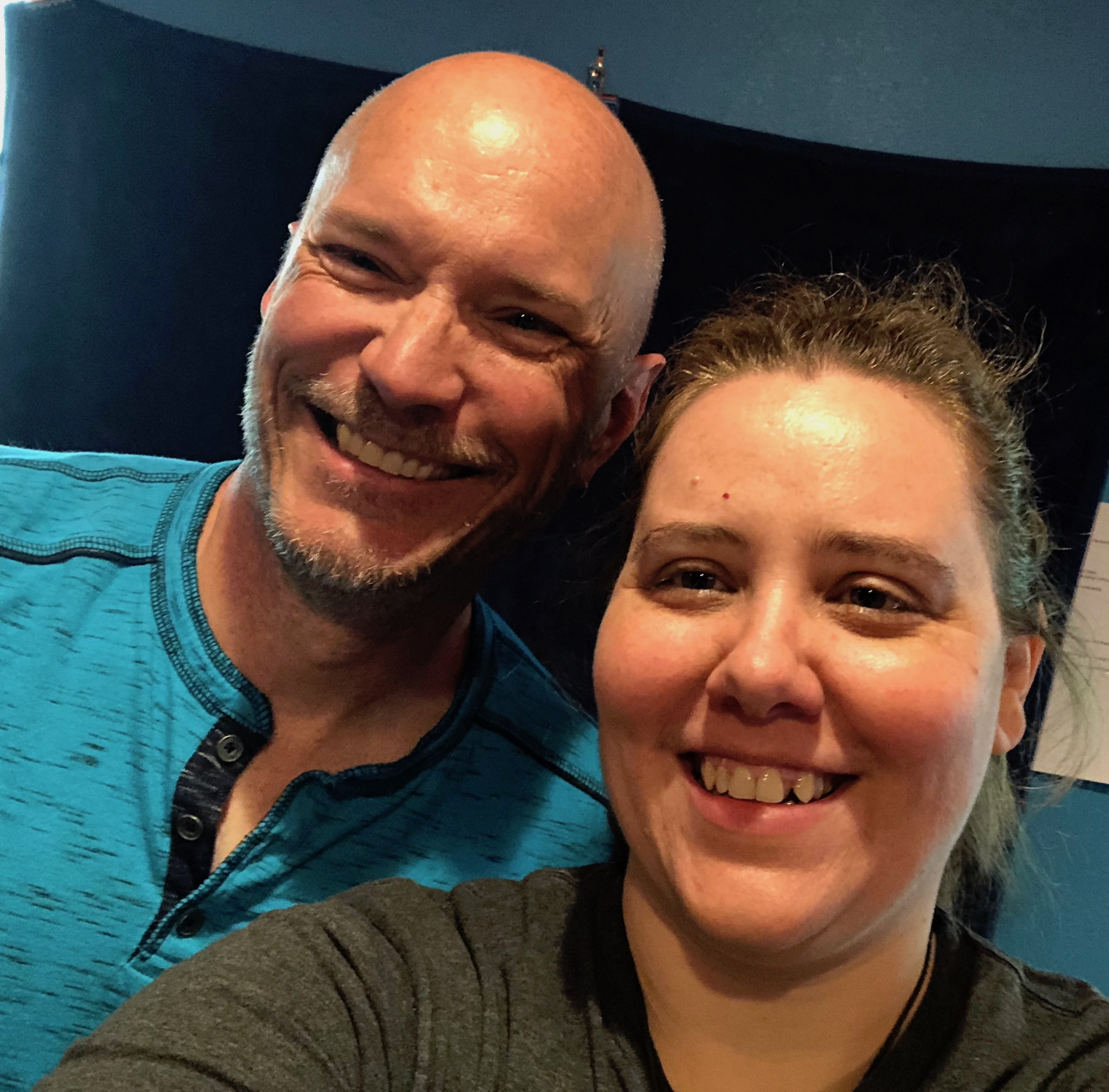 When Brian and Monica get together and talk about playing bari sax, it's all smiles!