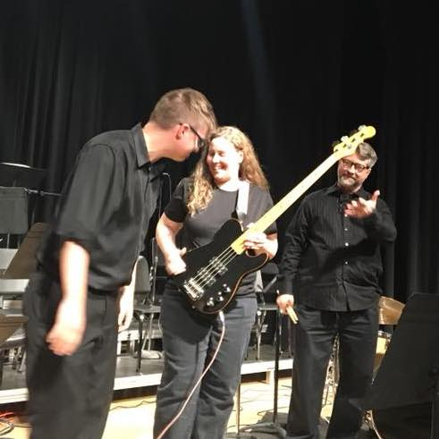 Monica playing bass with the Faculty Misfits in 2017, thanks to Wes Hawkins for the photo!