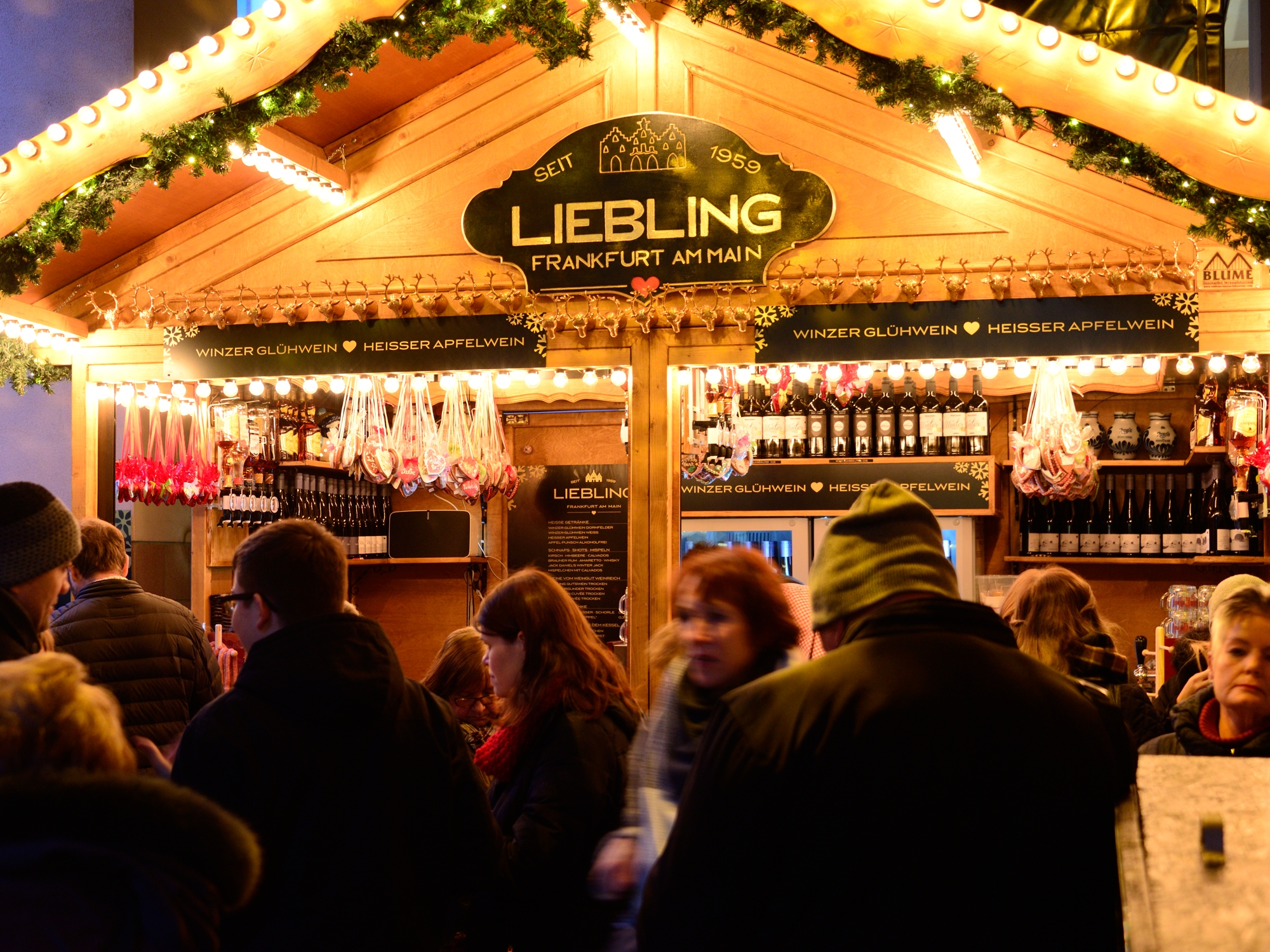 Glühwein stand at the back of the Römerberg - popular with the locals!