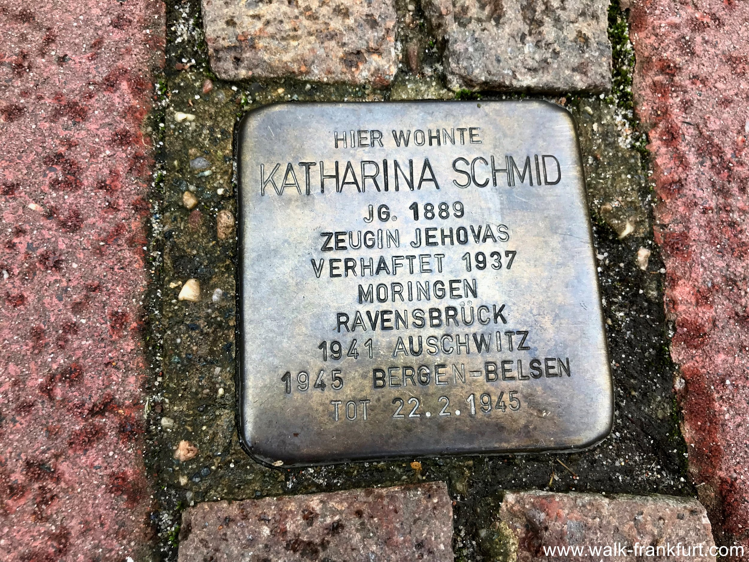 Katharina Schmid's stumbling Stone (Stolperstein) murdered for being a Jehovah's Witness.