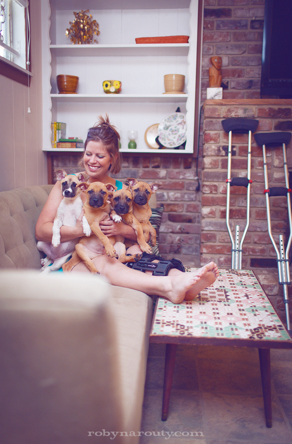 Julia Long after car accident with puppies she saved.
