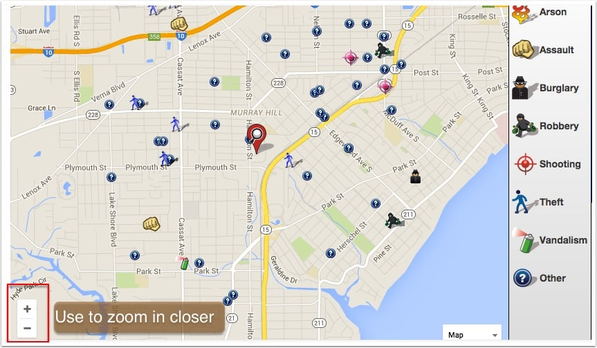 Using spot crime you can identify areas to avoid as an international real estate investor.