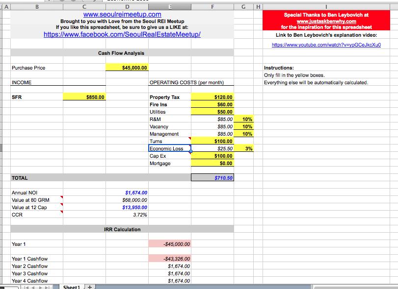 Seoul REI Spreadsheet