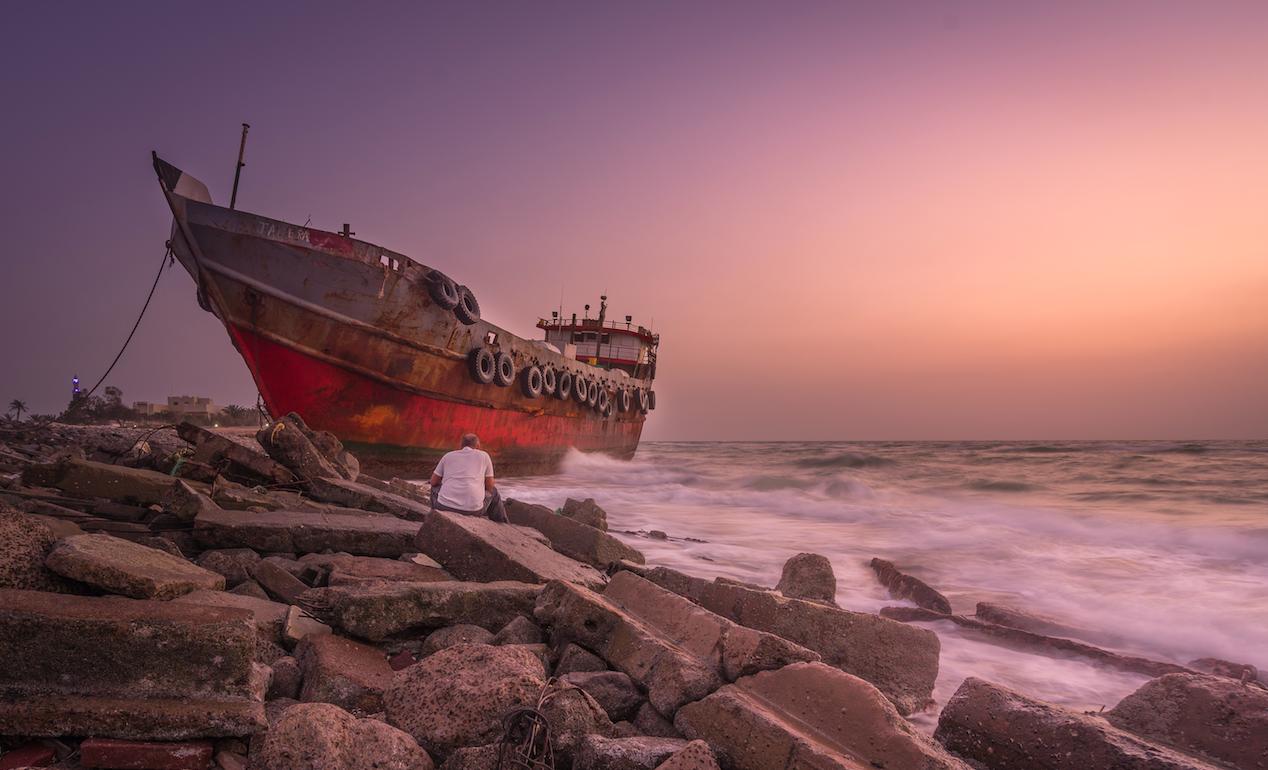 Ship on the rocks