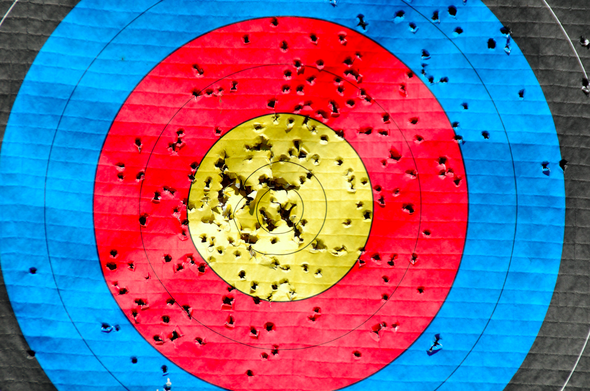 archery target with holes