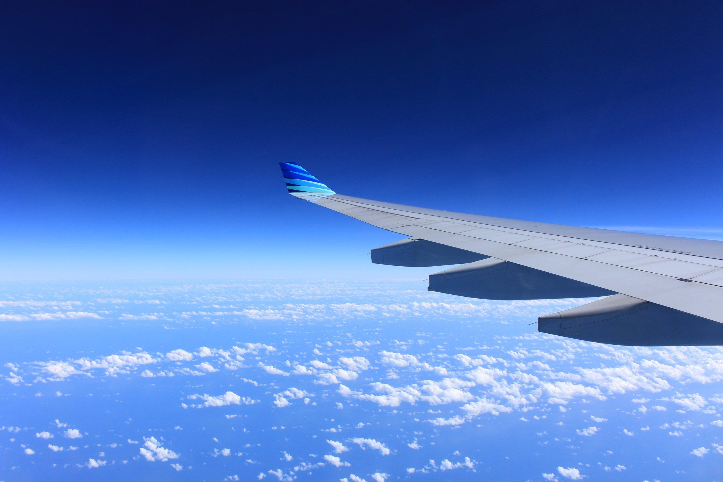 Aeroplane wing view