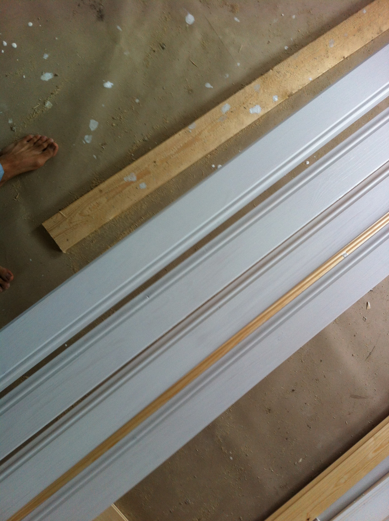 Painting planks for the new ceiling