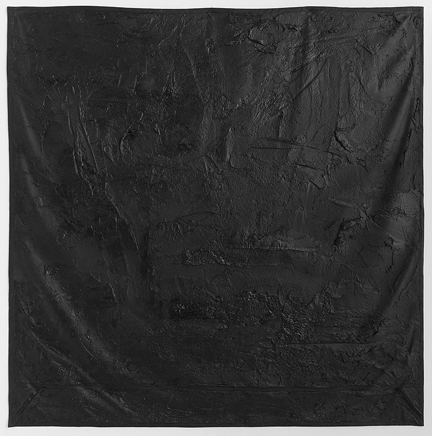 Black Ground, 2013   Bituminous mastic, acrylic, gesso on canvas, Size: 197.5 X 197.5 CM  Petach Tikva museum of art collection  photographer: Elad Sarig