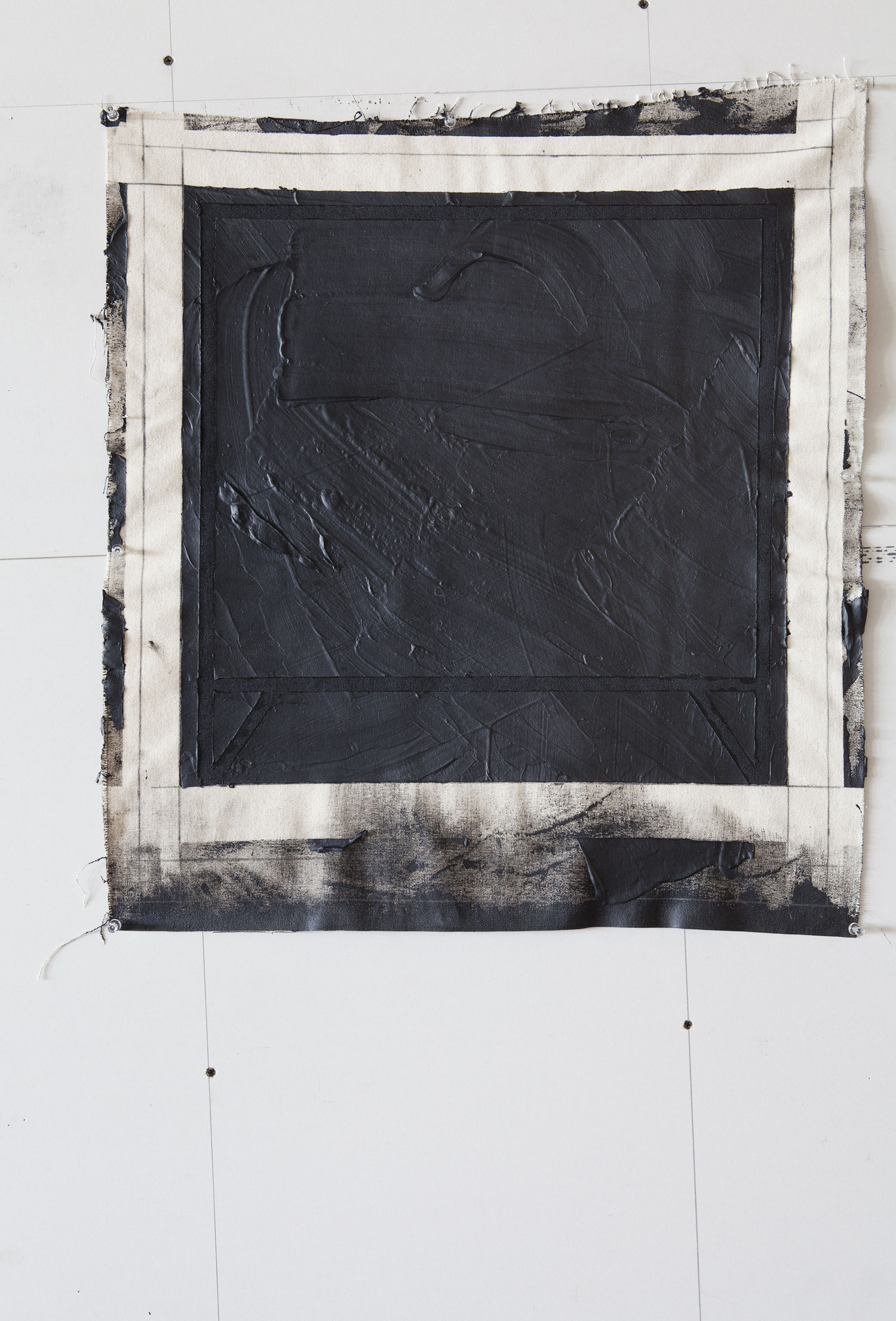 Movements outside Square ( Black Box inside square )      In Process   2013    American coal tar on indian canvas  Size: Around 35 X 35 cm  Photographer: Amina Hasen