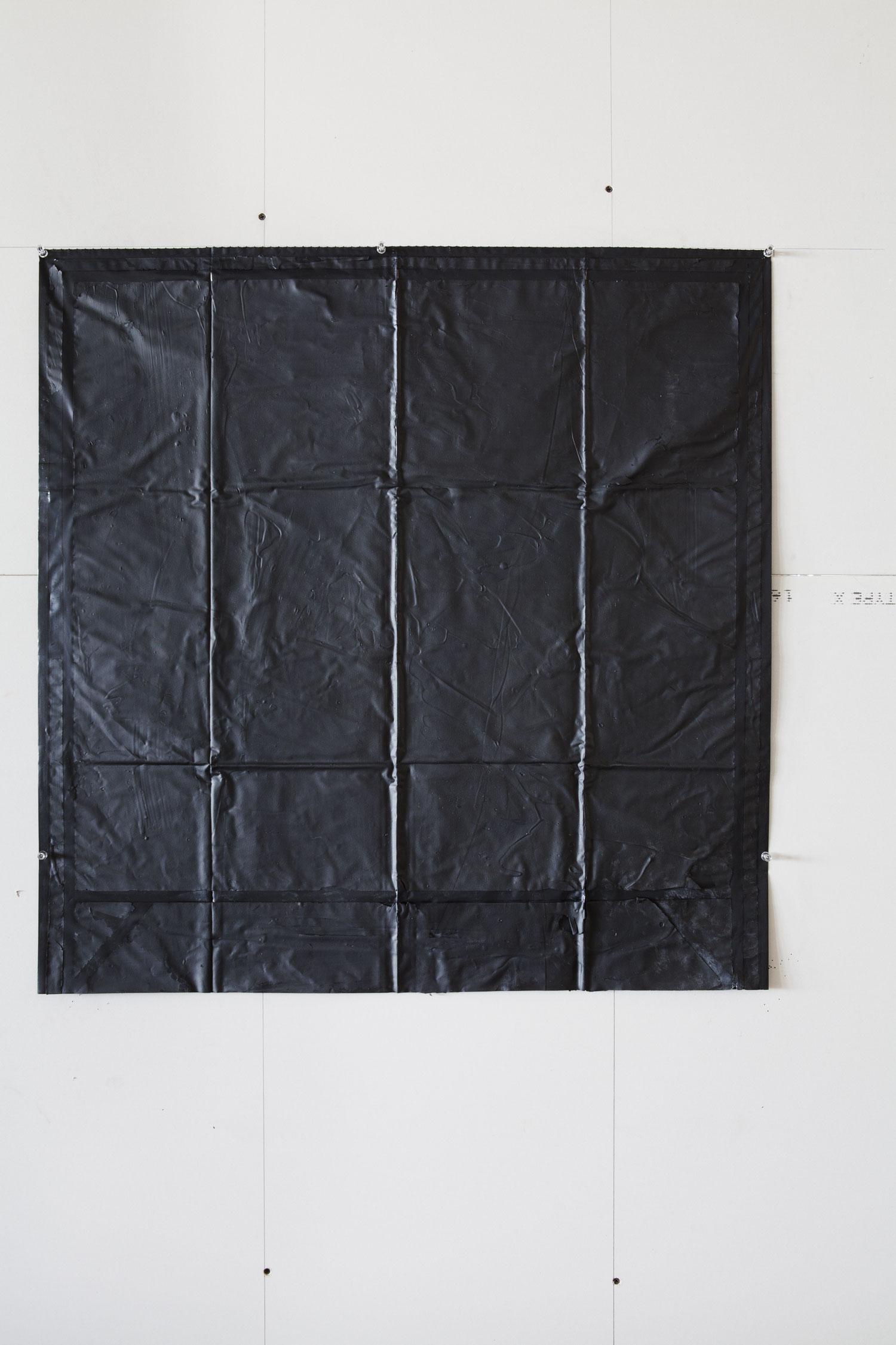 Movements outside Square, garbage bag ( Black Box inside square ) 2013    American coal tar on black garbage bag  Size: Around 90 X 90 cm  Photographer: Amina Hasen