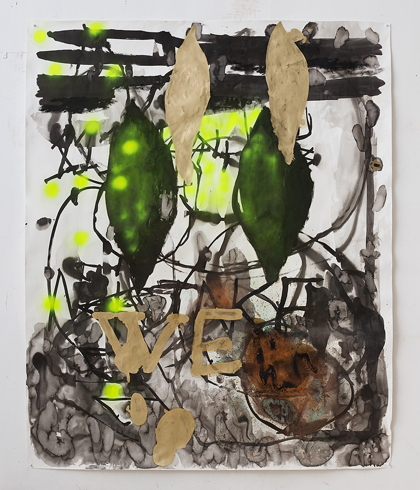 WE   2016 |Approx. 220 X 125 CM  Fabriano paper 200 Gr, copper, oil, water, black indian ink, spray-paint  Photographer: Elad Sarig