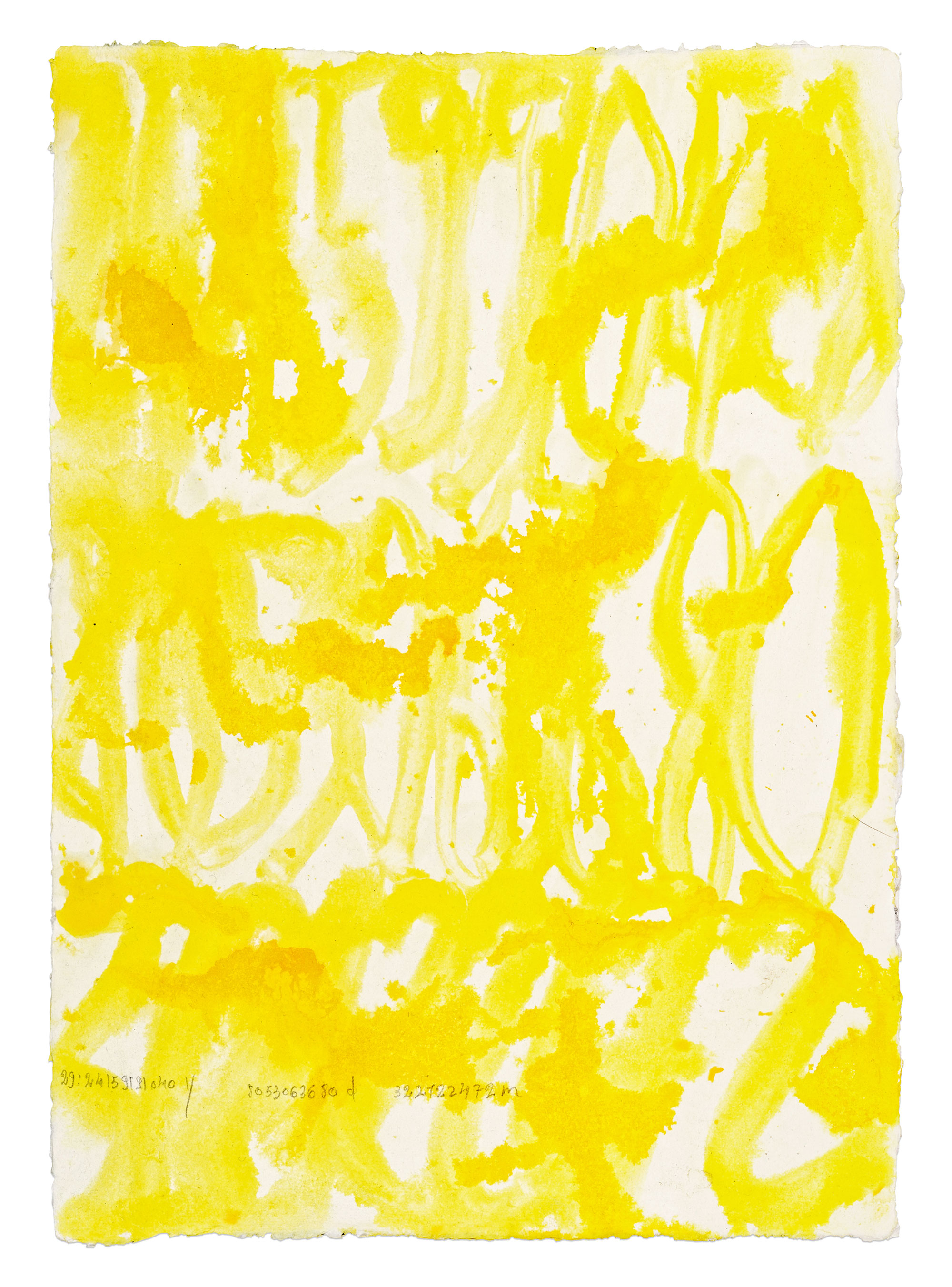 Quarante-quatre levers de soleil,(44 x 90 ans. 44 x 30 jours. 44 x 12 mois) (Saint-Cyr-L'école, 2016)   41 x 29,08 cm chacune Gouache, encre de chine jaune, acrylique, eaux sur papier coton recyclée fait à la main Rag 210 g (Inde du Sud) Photographie: Aurélien Mole
