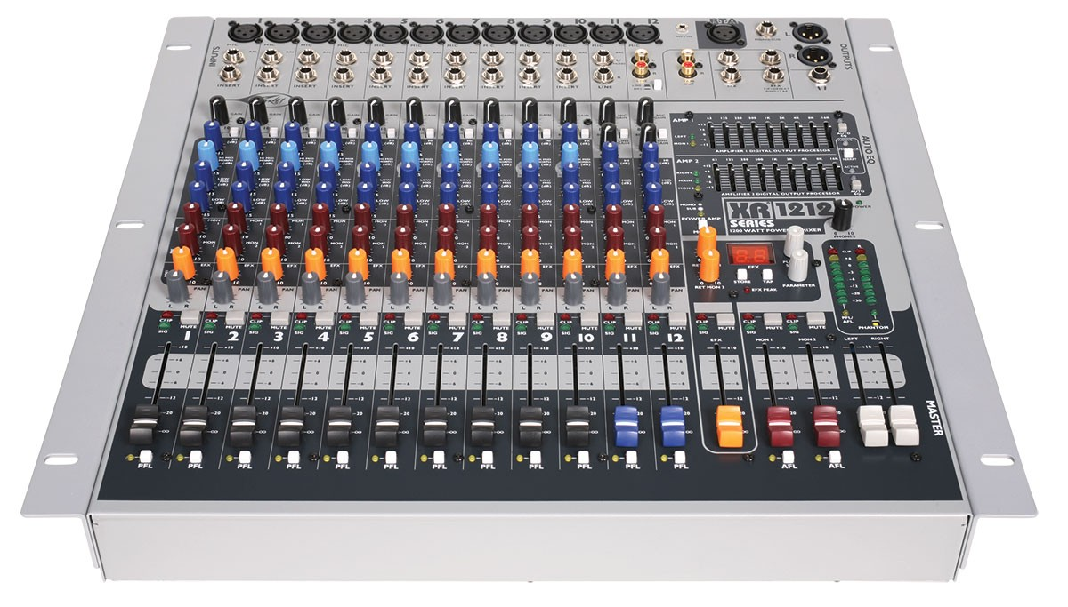 An example of a powered mixer - the Peavey XR1212 features 2 powered amps rated at 600W each.
