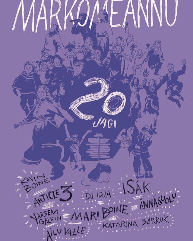 Årets plakat kommer i to forskjellige farger og med tidligere kjente márkomeannu figurer og folk samlet til fest 💜💖 Hvor mange av dem kan du se på plakaten?