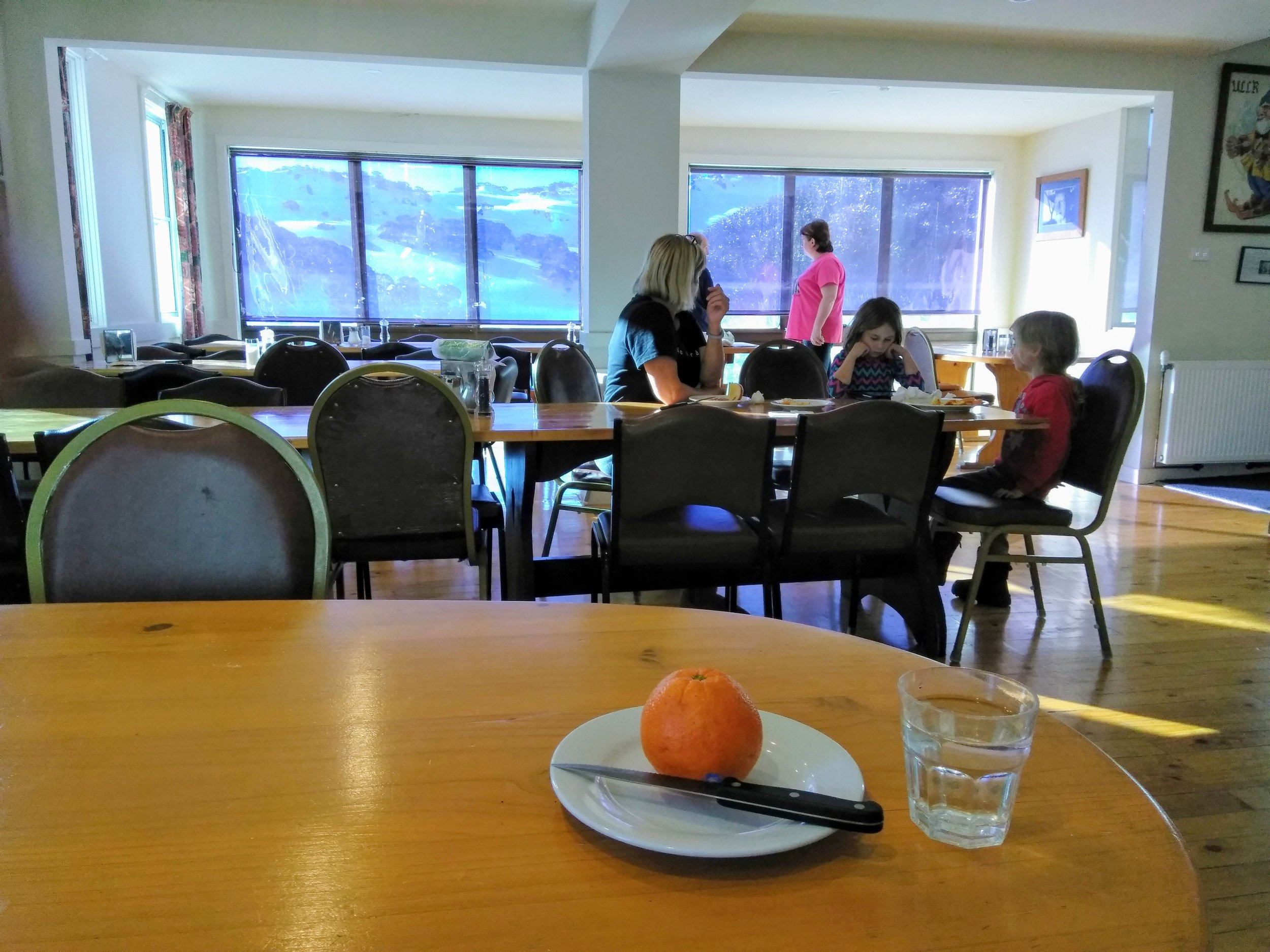 Refurbished dining room at Charlotte Pass lodge