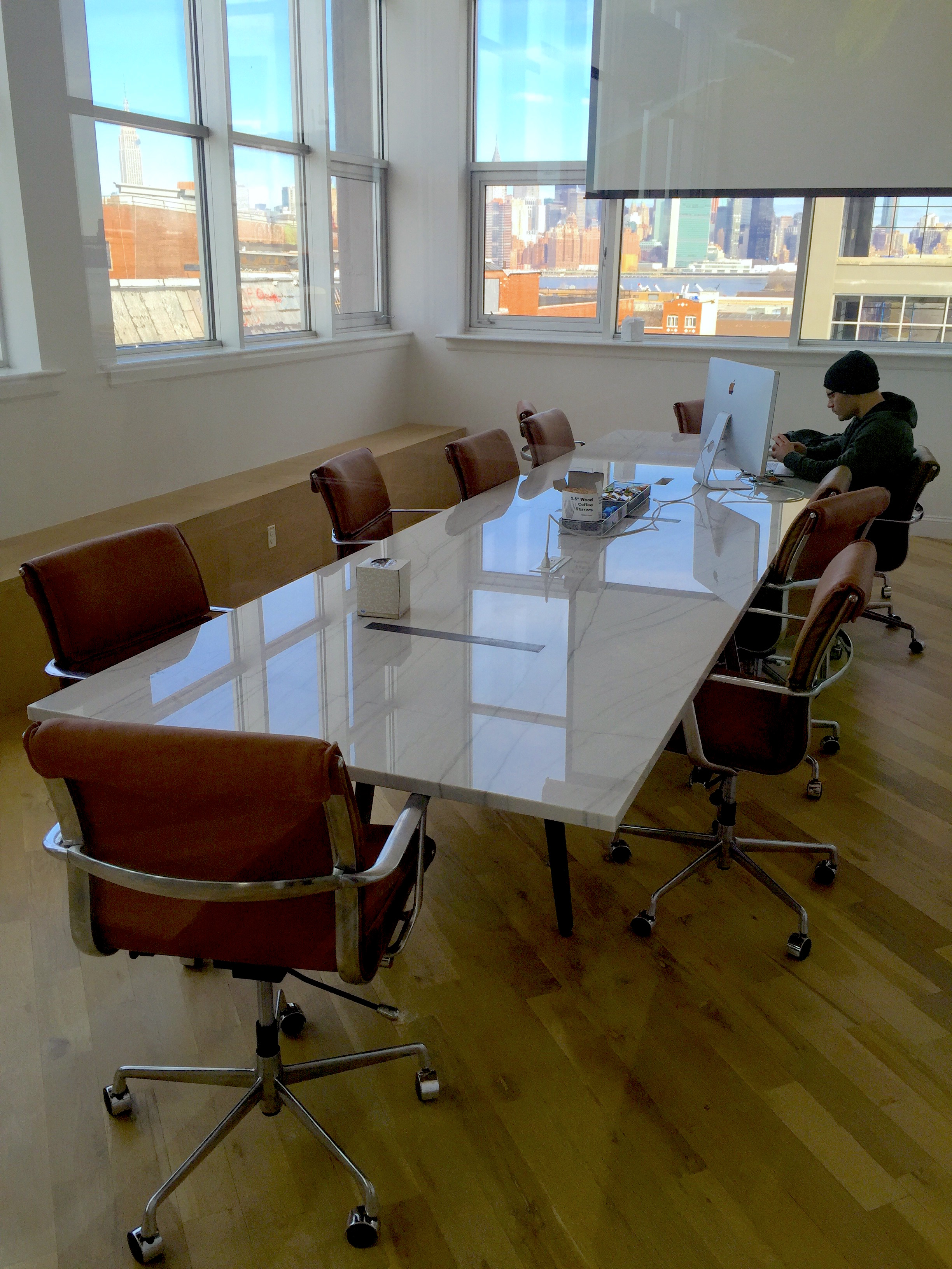 Contemporary Steel Glass Conference Table