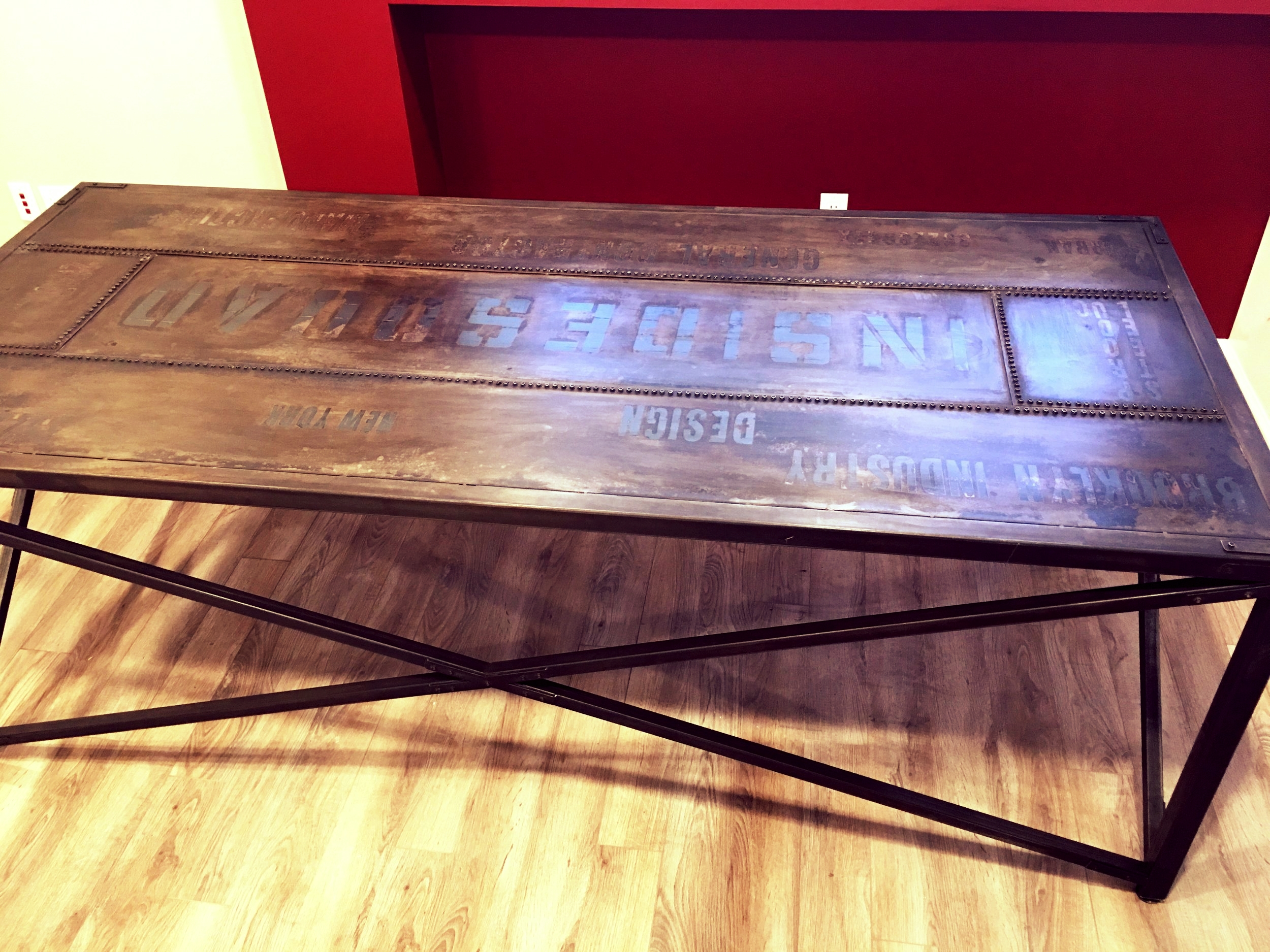 inlaid logo conference table