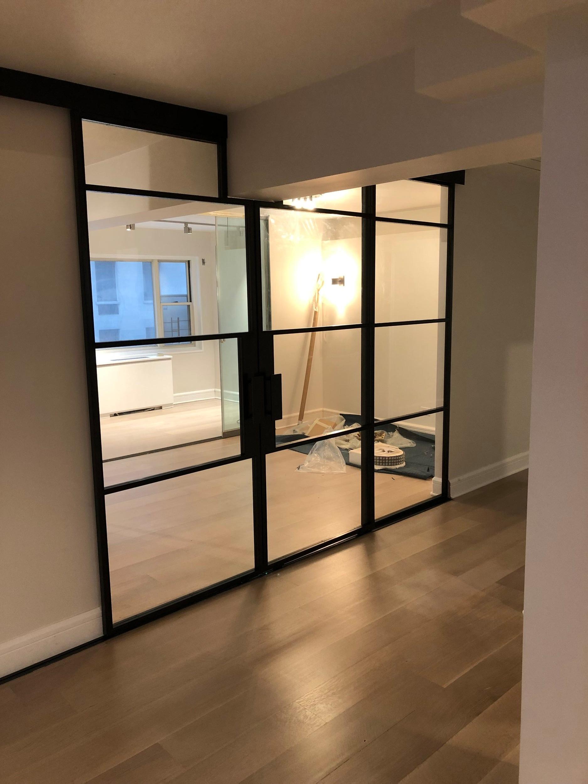 Steel & Glass Sliding Double Doors Wall