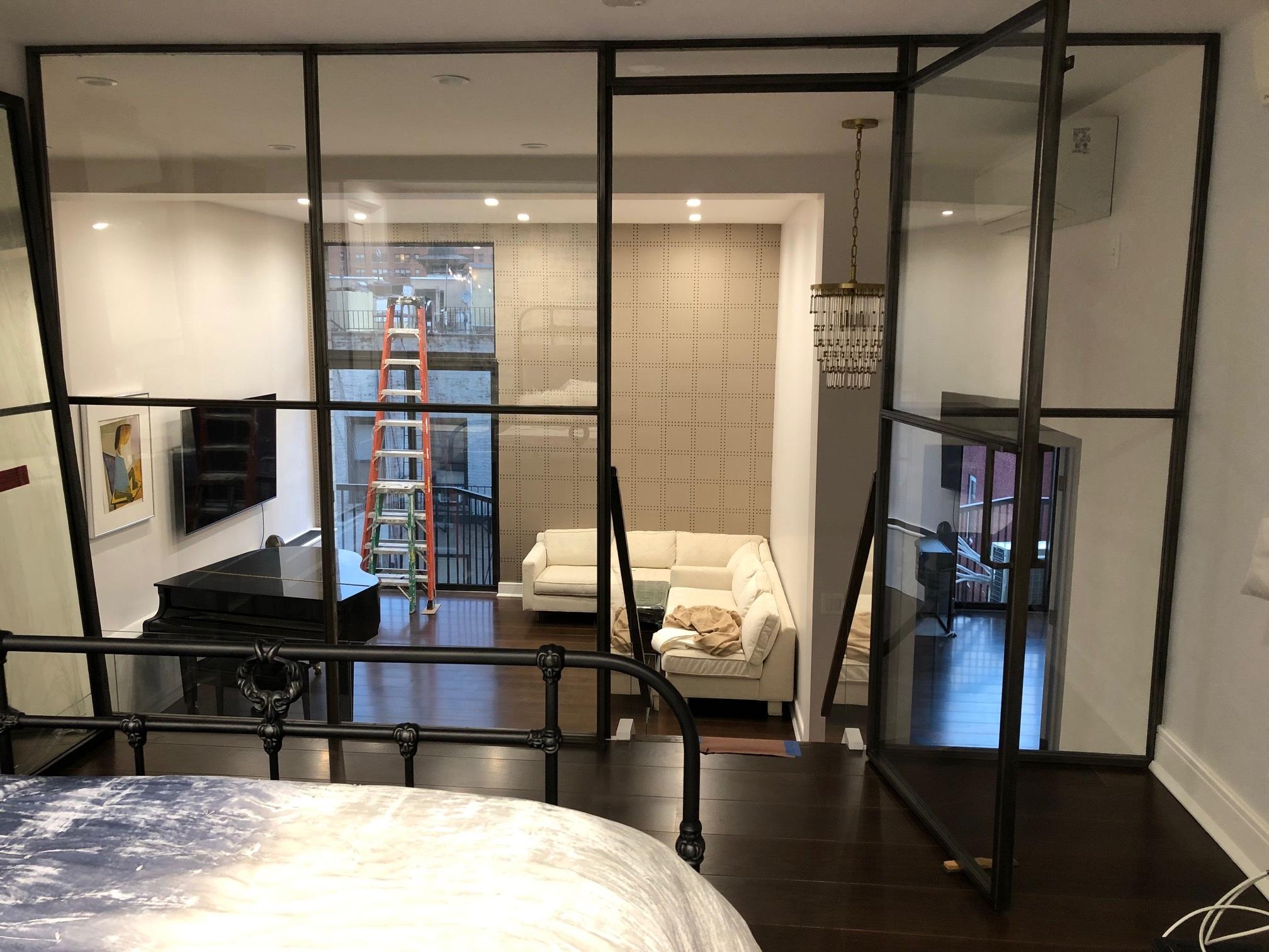 Steel & Glass Loft Wall with Swing Door