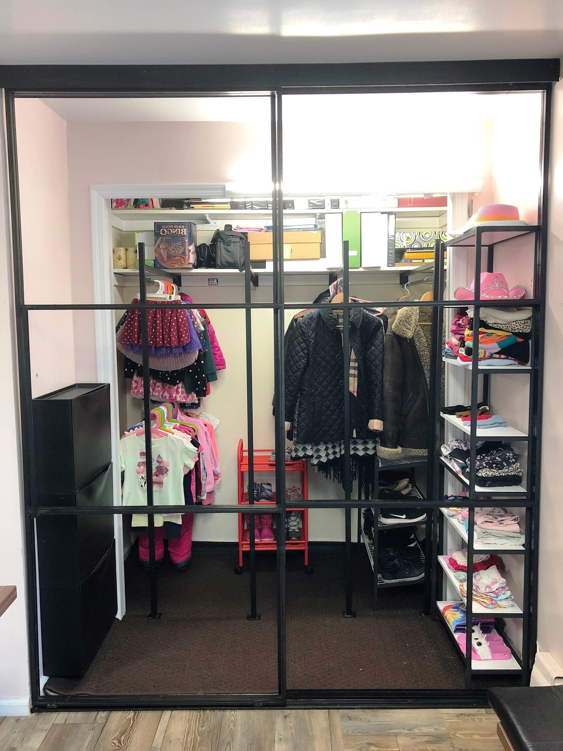 steel & glass walk-in closet