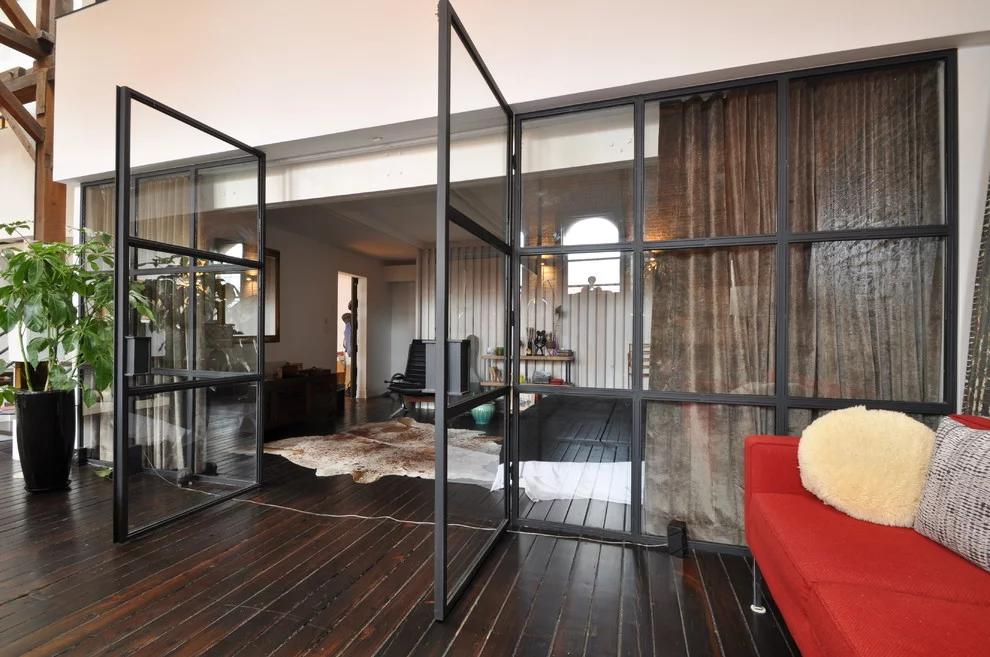 Industrial Steel & Glass Wall with Swing Doors