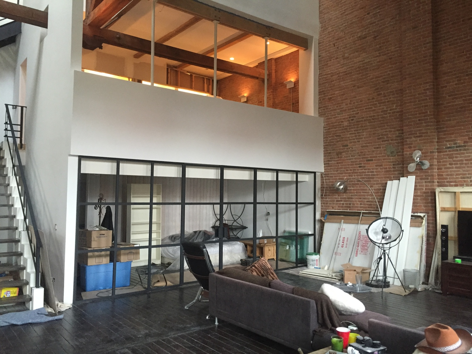 Industrial Steel & Glass Wall with Swing Doors