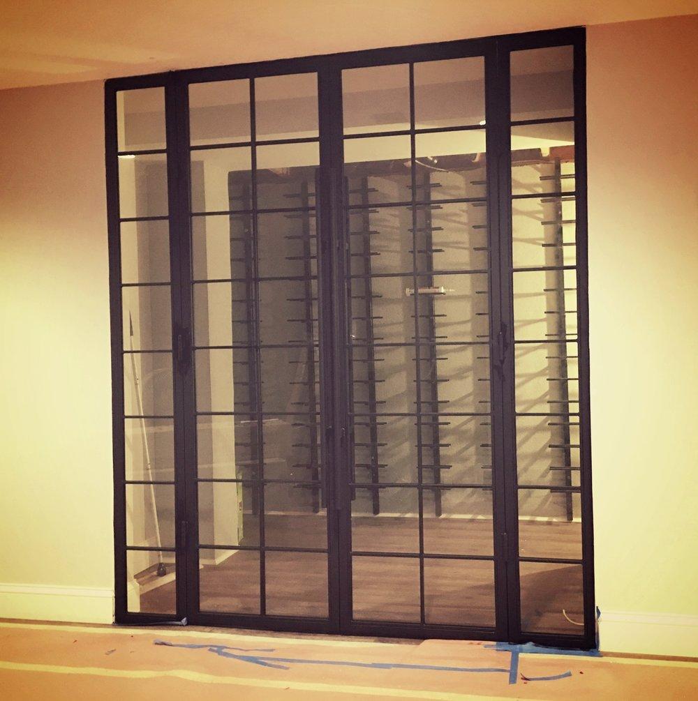Steel & Glass Swing Double French Doors for Wine Cellar.jpg