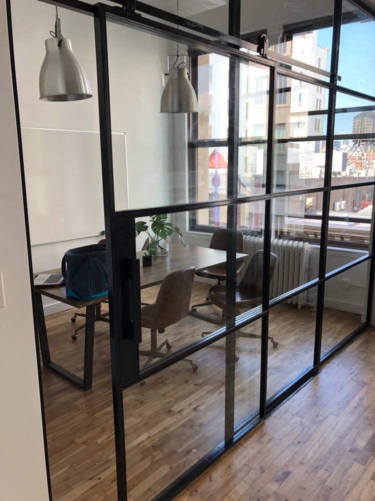 VillageOne Steel & Glass Meeting Room with Suspended Doors
