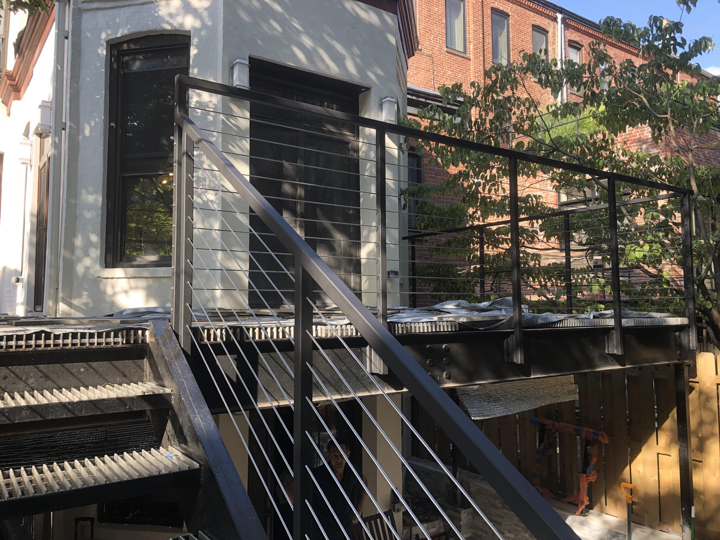 Park Slope Brownstone, Cable black stainless steel railings