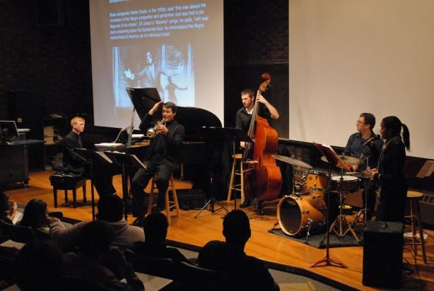 Professor Scott Cowan with WMU School of Music students Ashley Kimbrough,Nich Mueller,Jordan Richards and Nelson Oliva: guests in DEARTS on November 16, 2010 in the class  I Got Rhythm .