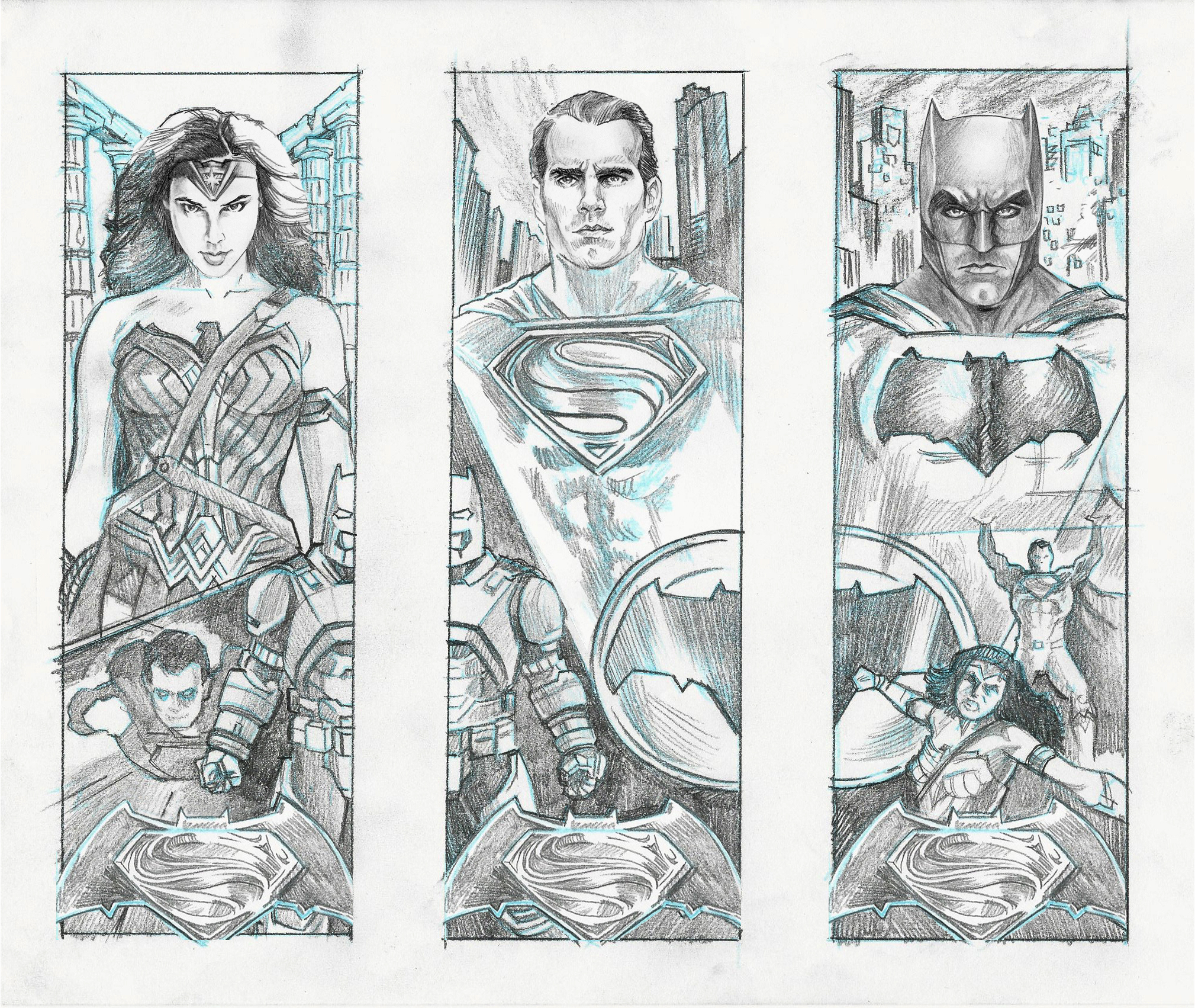 """Concept sketches for a proposed set of 3 connecting, screenprinted posters set to debut with the premiere of """"Batman V Superman"""". All characters © & TM DC Comics"""
