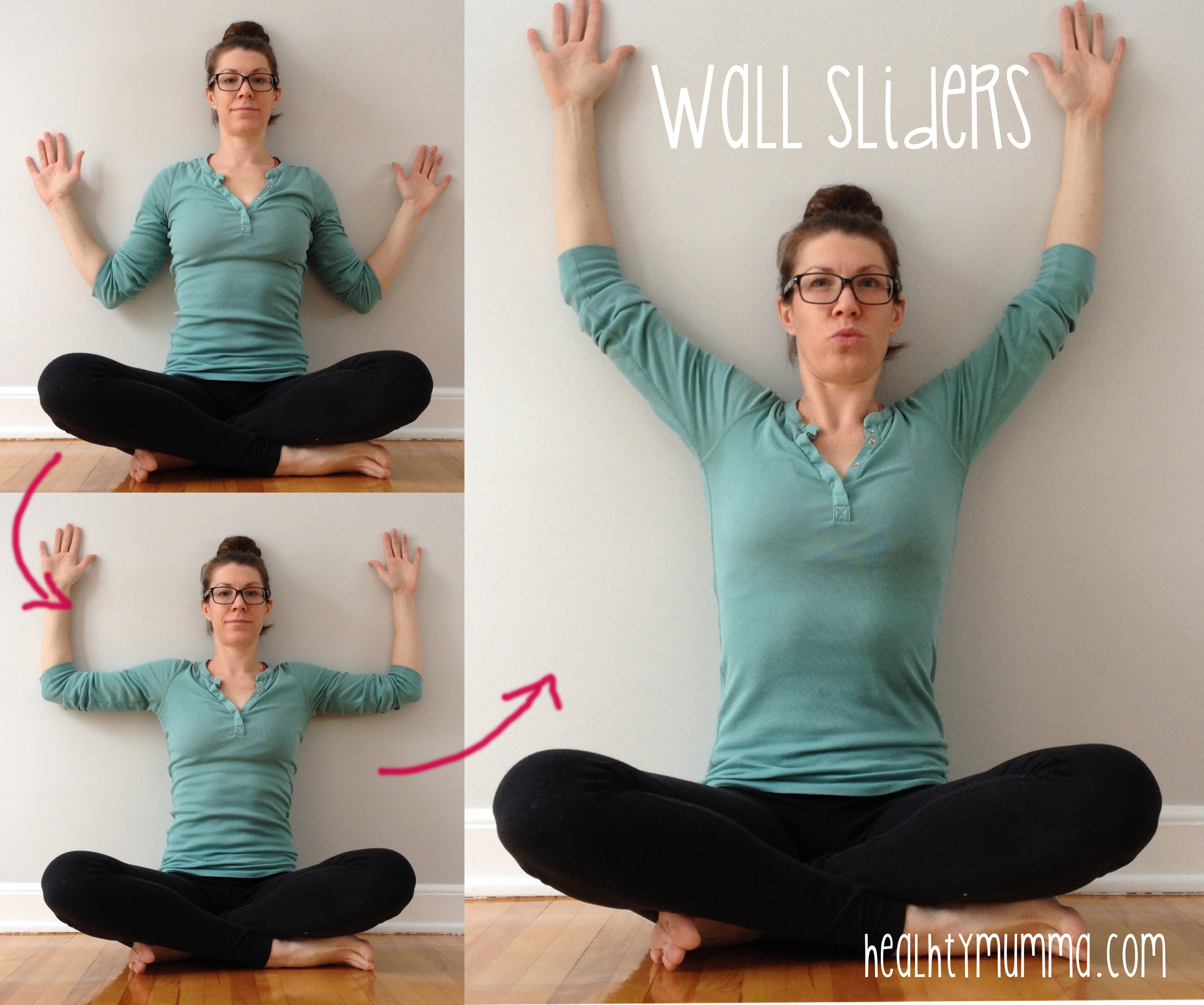 Wall sliders are a great exercise for mid-back ache from nursing.