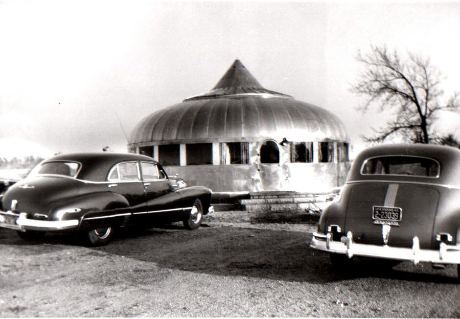"Figure 2. As constructed by William Graham in 1948, the ""Wichita House"" was a hybrid version of the Dymaxion House. Photograph courtesy of the William Graham family and Henry Ford Museum & Greenfield Village."