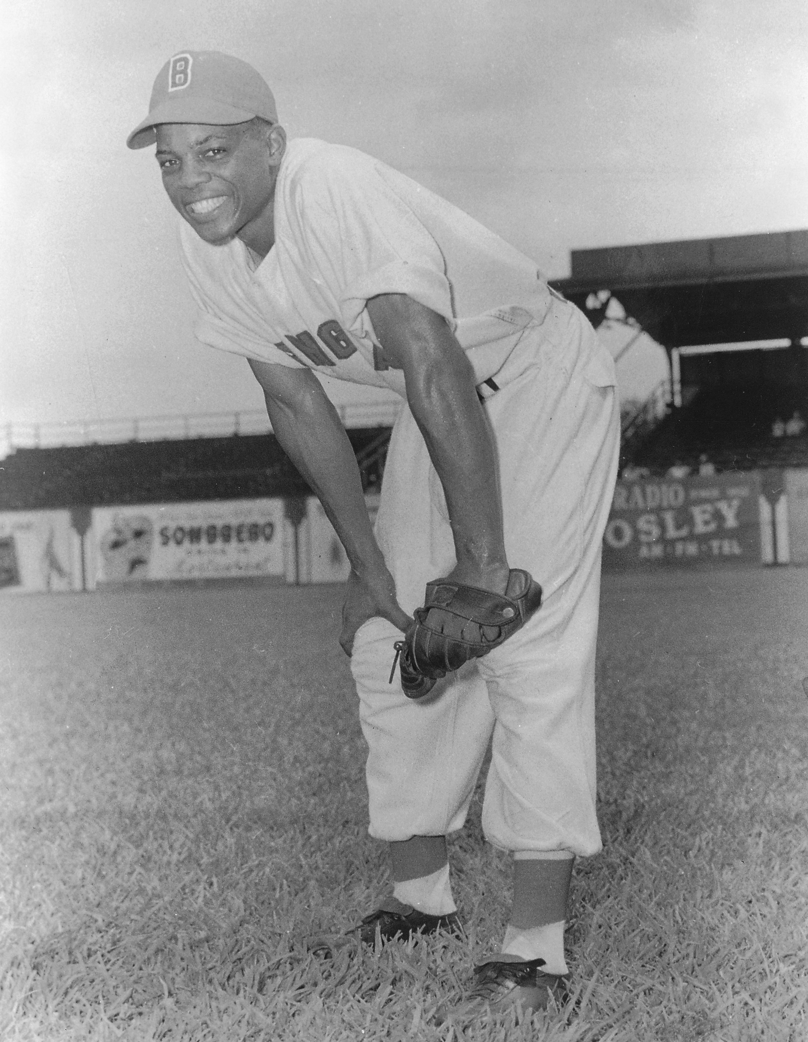 Seventeen-year-old Black Baron Willie Mays, with Rickwood right field in backgound, 1948 (T.H. Hayes Collection, Memphis Shelby Public Library)