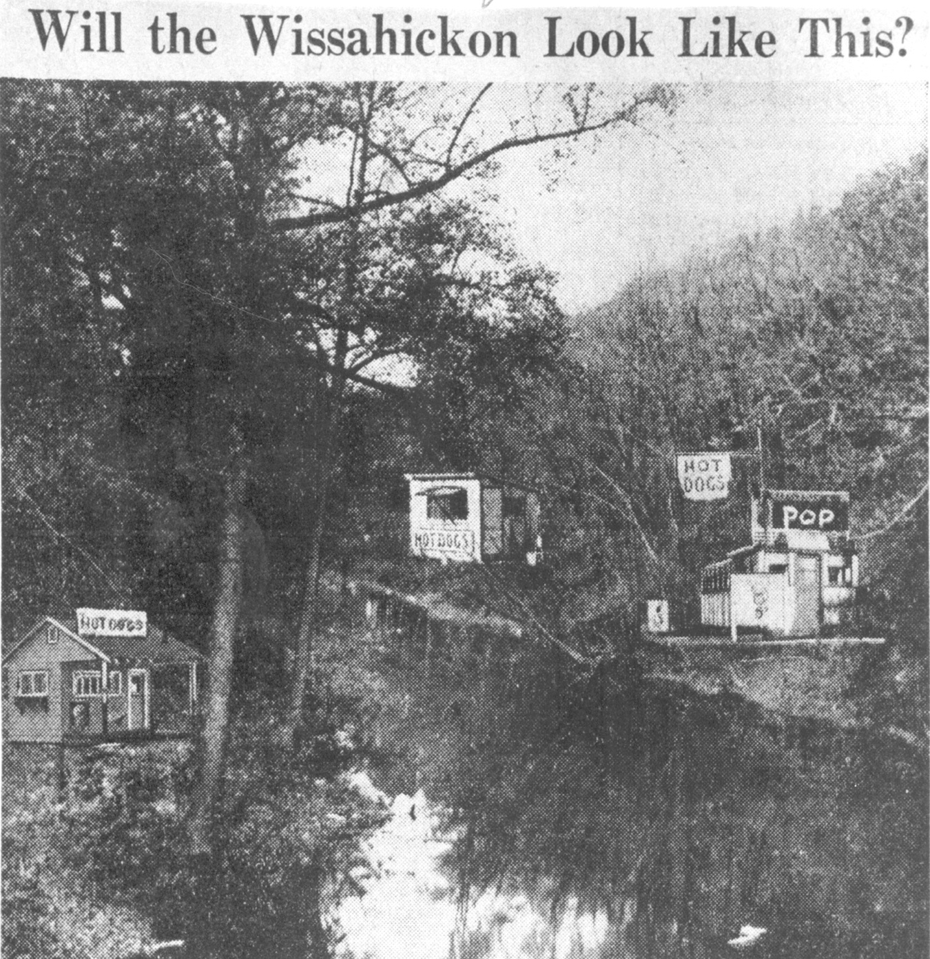 """Figure 2. """"Hot Dog Stand Menace Looms in the Wissahickon"""" ( Philadelphia Inquirer , 11 November 1937. Reprinted with permission from Urban Archives, Philadelphia, Pennsylvania)"""