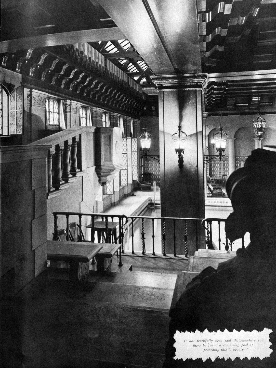 The 1929 men's swimming pool on the thirteenth floor at the Medinah Athletic Club in Chicago with its lounge, grotto, and spectator seating (Scimitar)