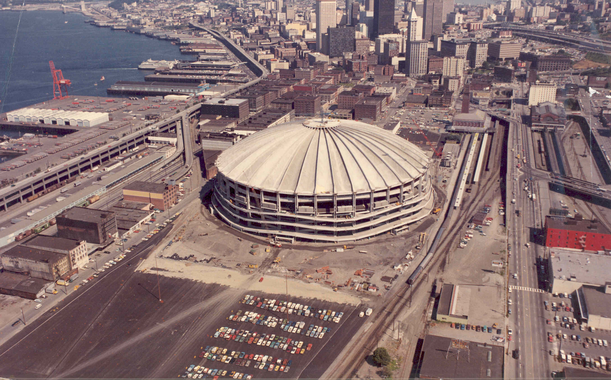 Figure 1. Kingdome under construction, 1975. King County Archive. The structure was imploded in 2000 when replaced by Safeco Field.