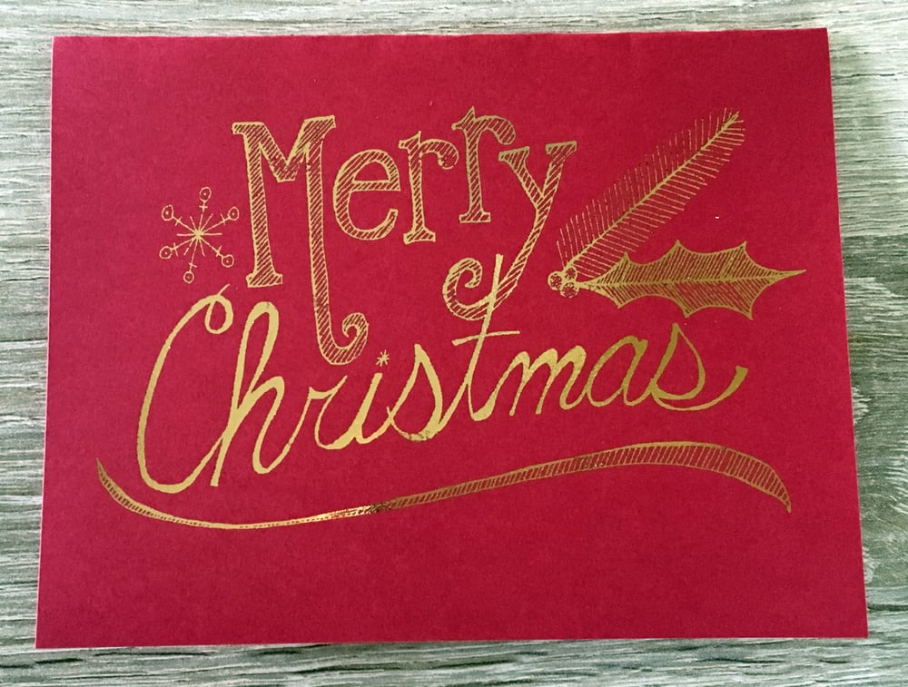 Merry Christmas   // Gold Foil on Scarlet