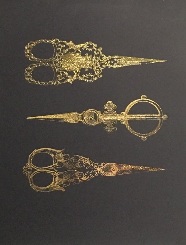 "Victorian Scissors   // 8.5"" x 11"" // Gold Foil on Black"